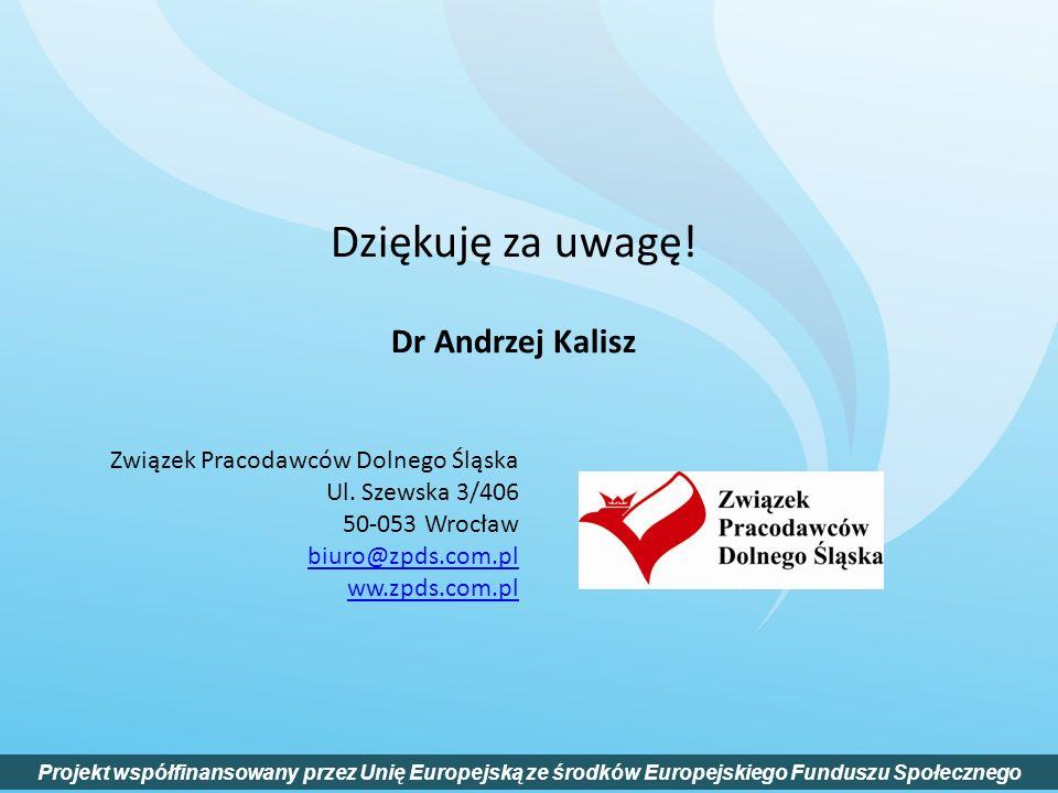 Dziękuję za uwagę! Dr Andrzej Kalisz Projekt współfinansowany przez Unię Europejską ze środków Europejskiego Funduszu Społecznego Związek Pracodawców