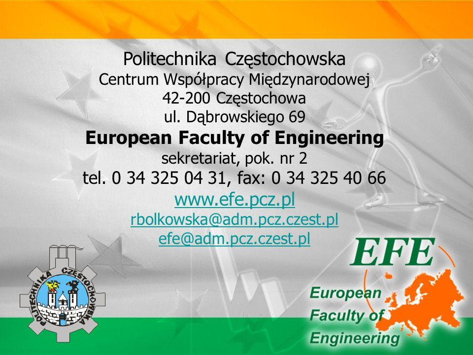 Politechnika Częstochowska Centrum Współpracy Międzynarodowej 42-200 Częstochowa ul.