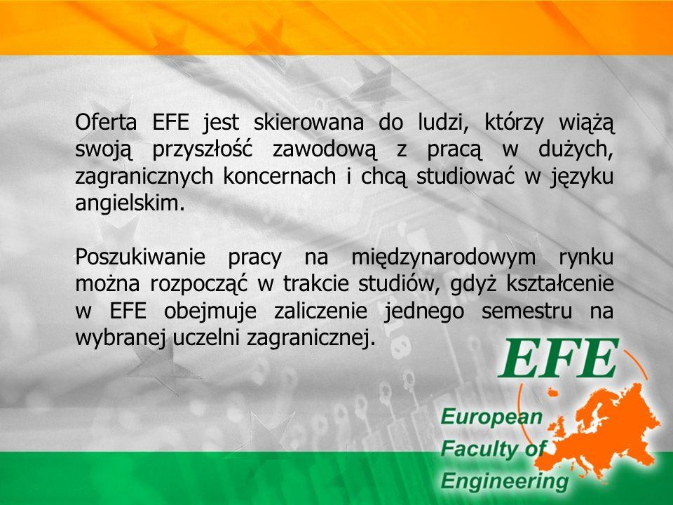 EFE jest jednostką umożliwiającą kształcenie w języku angielskim w ramach kierunków studiów prowadzonych przez Wydziały Politechniki Częstochowskiej: Wydział Inżynierii i Ochrony Środowiska Wydział Inżynierii Mechanicznej i Informatyki Wydział Zarządzania