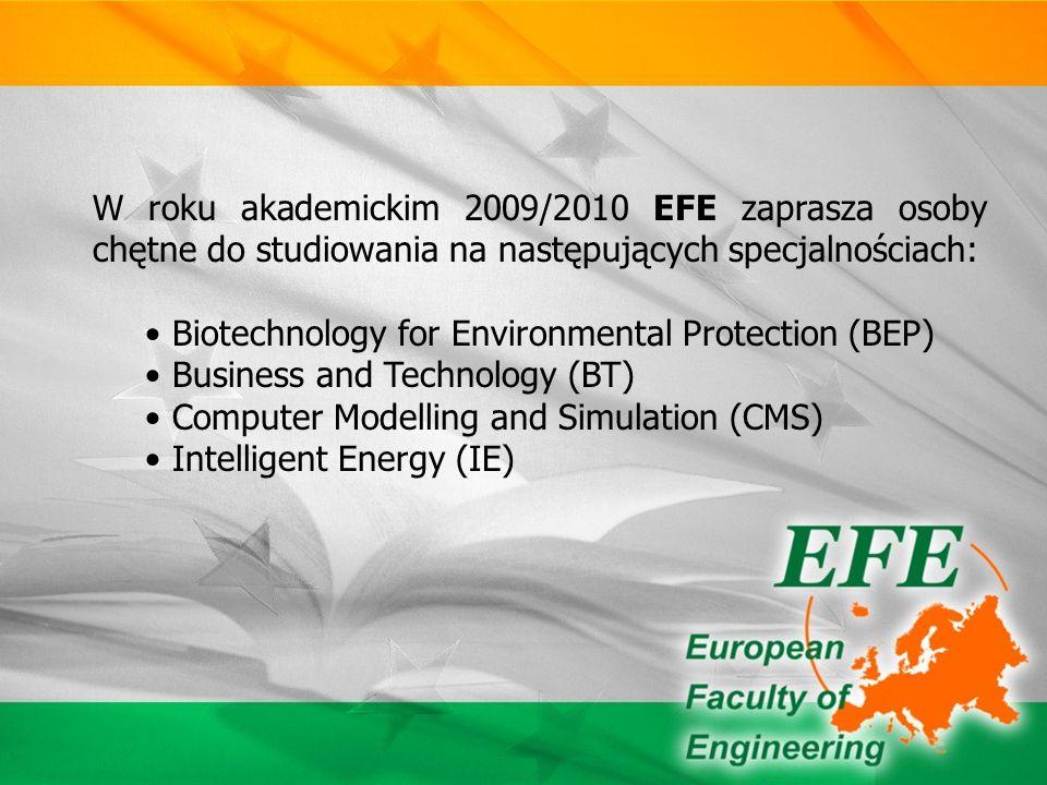 Najważniejszym celem EFE jest kształcenie przyszłych inżynierów, którzy nie tylko zdobędą wiedzę fachową z zakresu wybranego kierunku studiów, ale także biegle opanują techniczny i biznesowy język angielski, tak potrzebny na współczesnym rynku pracy.