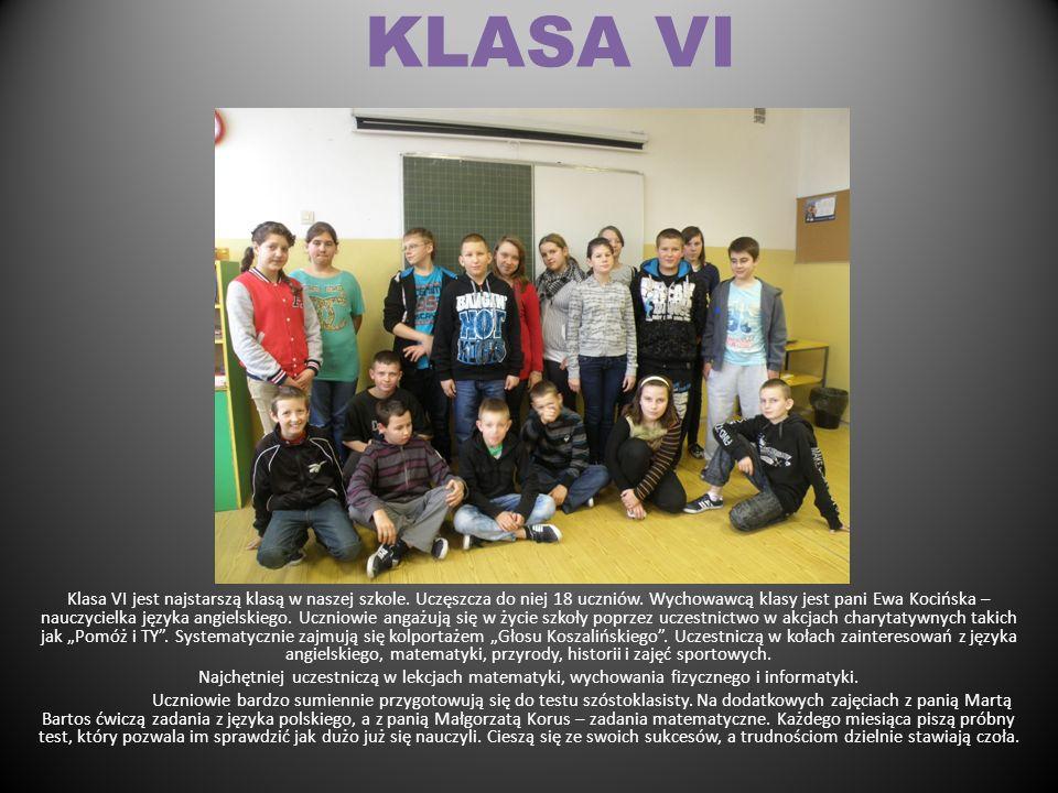 KLASA V Do klasy piątej uczęszcza 12 uczniów, Wychowawcą klasy jest pani Małgorzata Korus – nauczycielka matematyki. Uczniowie bardzo aktywnie uczestn