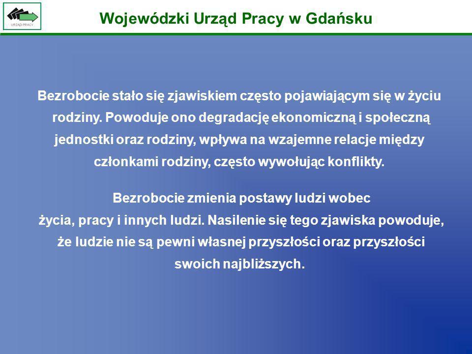 Wojewódzki Urząd Pracy w Gdańsku Bezrobocie stało się zjawiskiem często pojawiającym się w życiu rodziny. Powoduje ono degradację ekonomiczną i społec