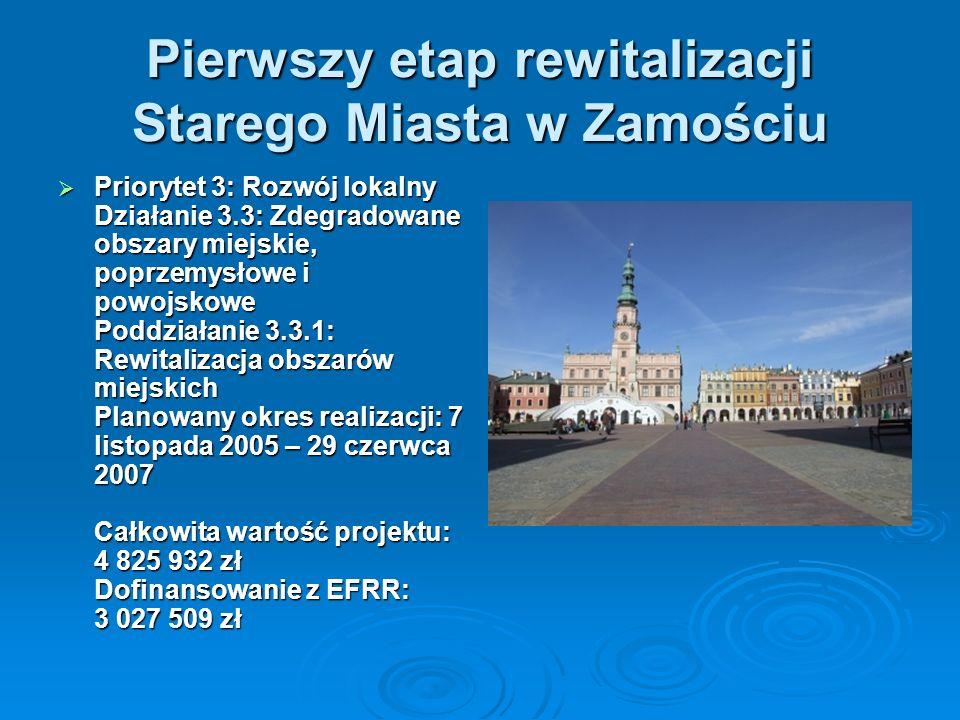 Pierwszy etap rewitalizacji Starego Miasta w Zamościu Priorytet 3: Rozwój lokalny Działanie 3.3: Zdegradowane obszary miejskie, poprzemysłowe i powojskowe Poddziałanie 3.3.1: Rewitalizacja obszarów miejskich Planowany okres realizacji: 7 listopada 2005 – 29 czerwca 2007 Całkowita wartość projektu: 4 825 932 zł Dofinansowanie z EFRR: 3 027 509 zł Priorytet 3: Rozwój lokalny Działanie 3.3: Zdegradowane obszary miejskie, poprzemysłowe i powojskowe Poddziałanie 3.3.1: Rewitalizacja obszarów miejskich Planowany okres realizacji: 7 listopada 2005 – 29 czerwca 2007 Całkowita wartość projektu: 4 825 932 zł Dofinansowanie z EFRR: 3 027 509 zł