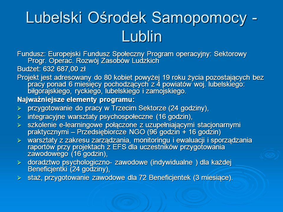 Lubelski Ośrodek Samopomocy - Lublin Fundusz: Europejski Fundusz Społeczny Program operacyjny: Sektorowy Progr.