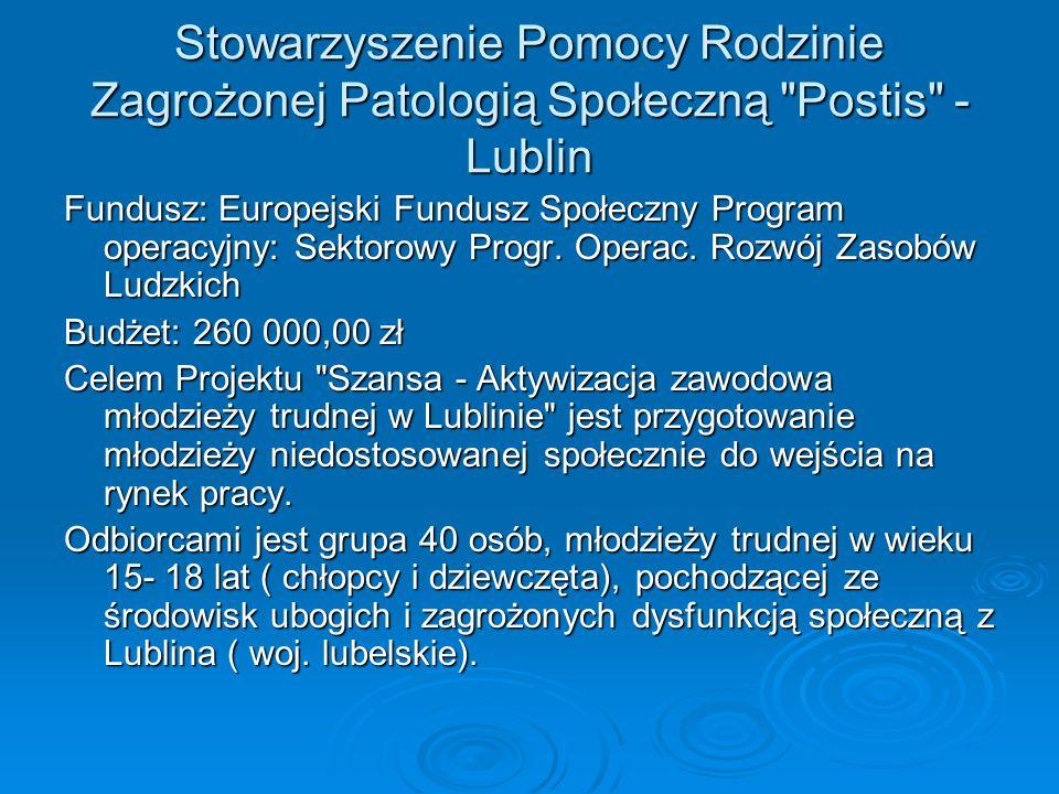 Stowarzyszenie Pomocy Rodzinie Zagrożonej Patologią Społeczną Postis - Lublin Fundusz: Europejski Fundusz Społeczny Program operacyjny: Sektorowy Progr.