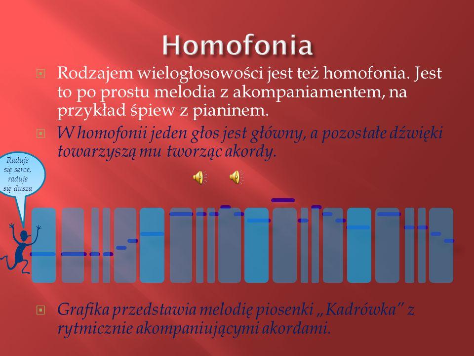 Rodzajem wielogłosowości jest też homofonia.