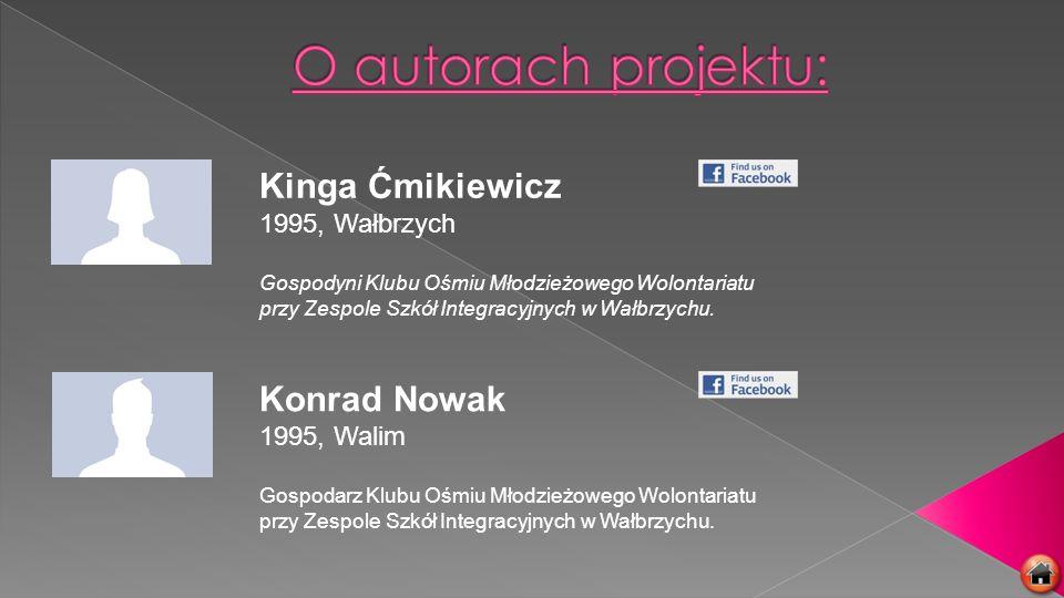Kinga Ćmikiewicz 1995, Wałbrzych Gospodyni Klubu Ośmiu Młodzieżowego Wolontariatu przy Zespole Szkół Integracyjnych w Wałbrzychu. Konrad Nowak 1995, W