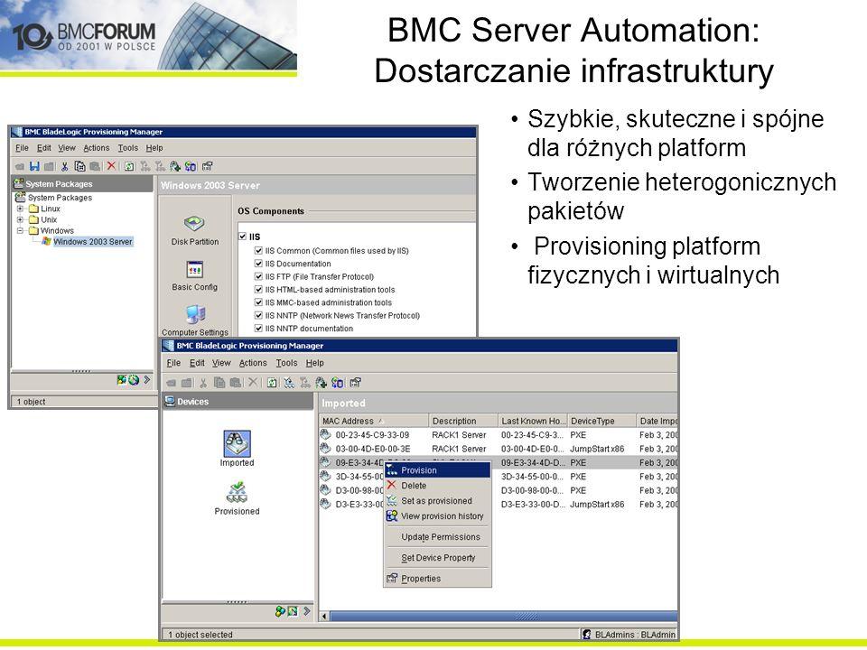 BMC Server Automation: Dostarczanie infrastruktury Szybkie, skuteczne i spójne dla różnych platform Tworzenie heterogonicznych pakietów Provisioning p