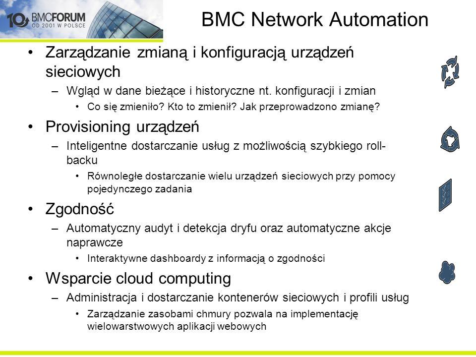 BMC Network Automation Zarządzanie zmianą i konfiguracją urządzeń sieciowych –Wgląd w dane bieżące i historyczne nt. konfiguracji i zmian Co się zmien