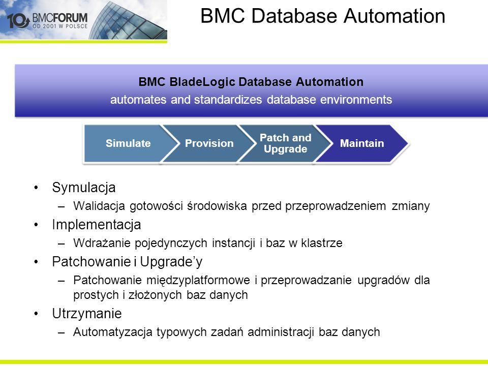 BMC Database Automation Symulacja –Walidacja gotowości środowiska przed przeprowadzeniem zmiany Implementacja –Wdrażanie pojedynczych instancji i baz
