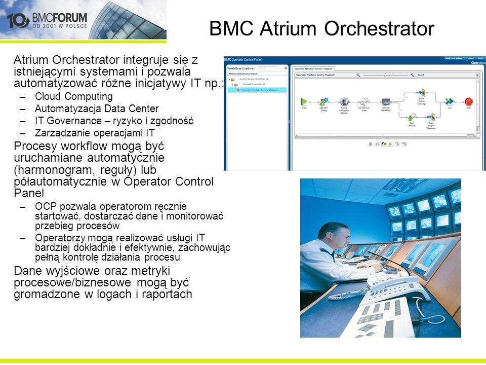 BMC Atrium Orchestrator Atrium Orchestrator integruje się z istniejącymi systemami i pozwala automatyzować różne inicjatywy IT np.: –Cloud Computing –