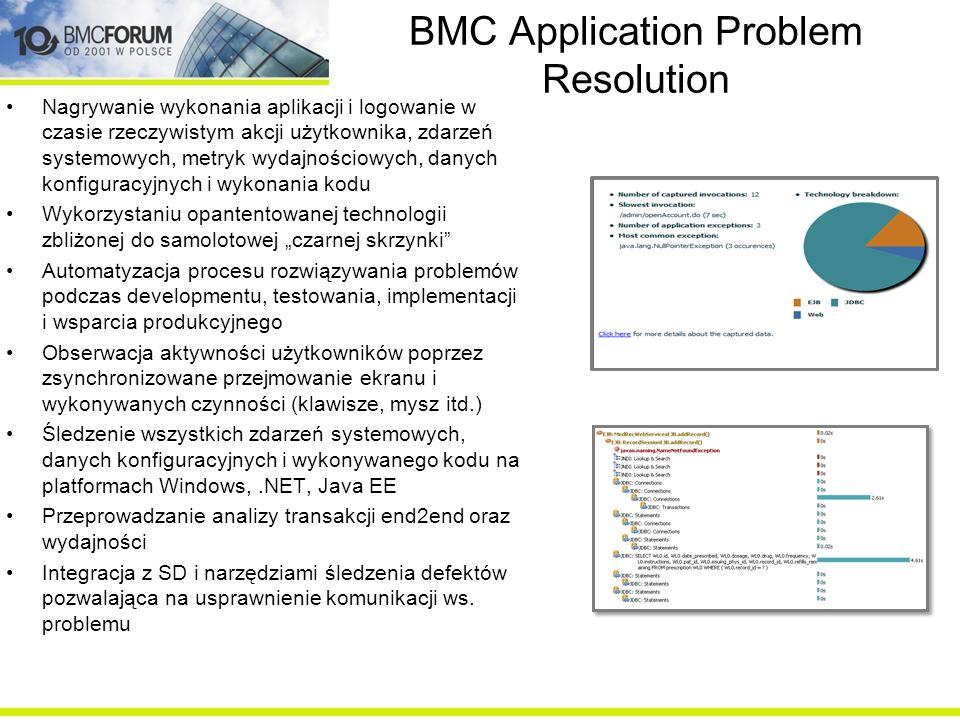 BMC Application Problem Resolution Nagrywanie wykonania aplikacji i logowanie w czasie rzeczywistym akcji użytkownika, zdarzeń systemowych, metryk wyd