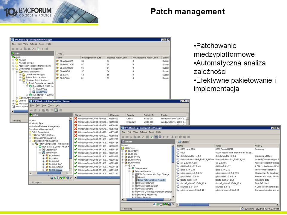 Patch management Cross-platform patching Dependency analysis & simulation Efficient packaging & deployment Dynamic grouping & notification Rapid rollb