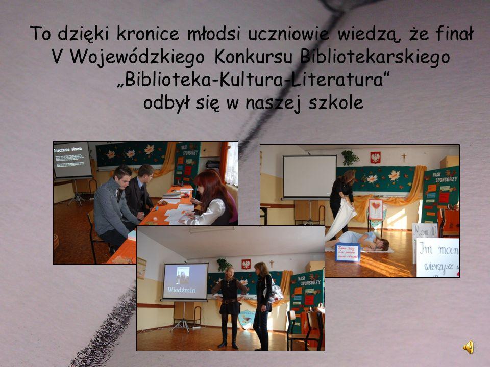 Kronika Od roku szkolnego 2000/2001 biblioteka posiada swoją kronikę. W której odnotowujemy wszystkie ważne wydarzenia, wklejamy zdjęcia, umieszczamy