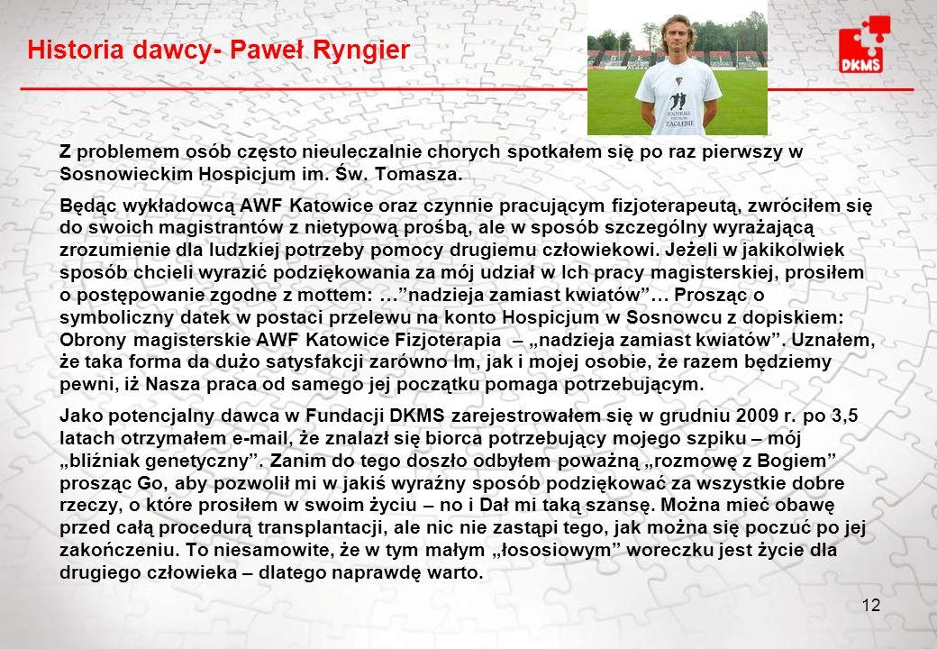 Historia dawcy- Paweł Ryngier Z problemem osób często nieuleczalnie chorych spotkałem się po raz pierwszy w Sosnowieckim Hospicjum im.