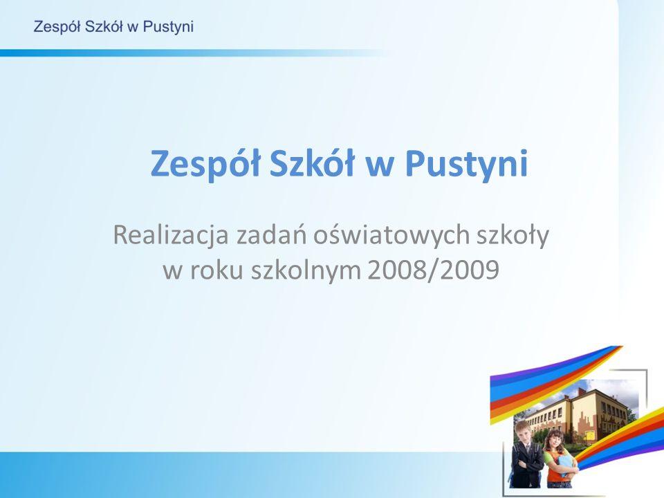 Zespół Szkół w Pustyni Realizacja zadań oświatowych szkoły w roku szkolnym 2008/2009