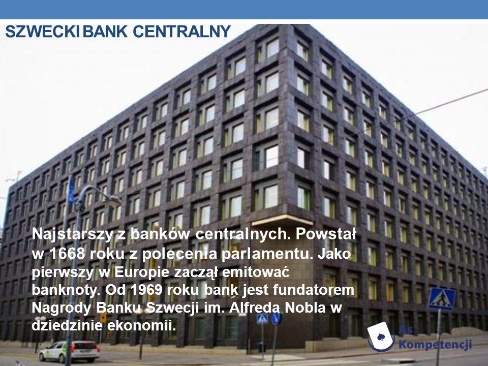 SZWECKI BANK CENTRALNY Najstarszy z banków centralnych.