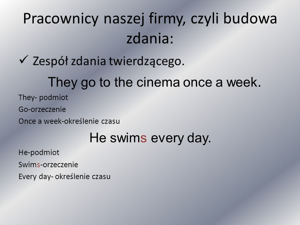 Pracownicy naszej firmy, czyli budowa zdania: Zespół zdania twierdzącego. They go to the cinema once a week. They- podmiot Go-orzeczenie Once a week-o
