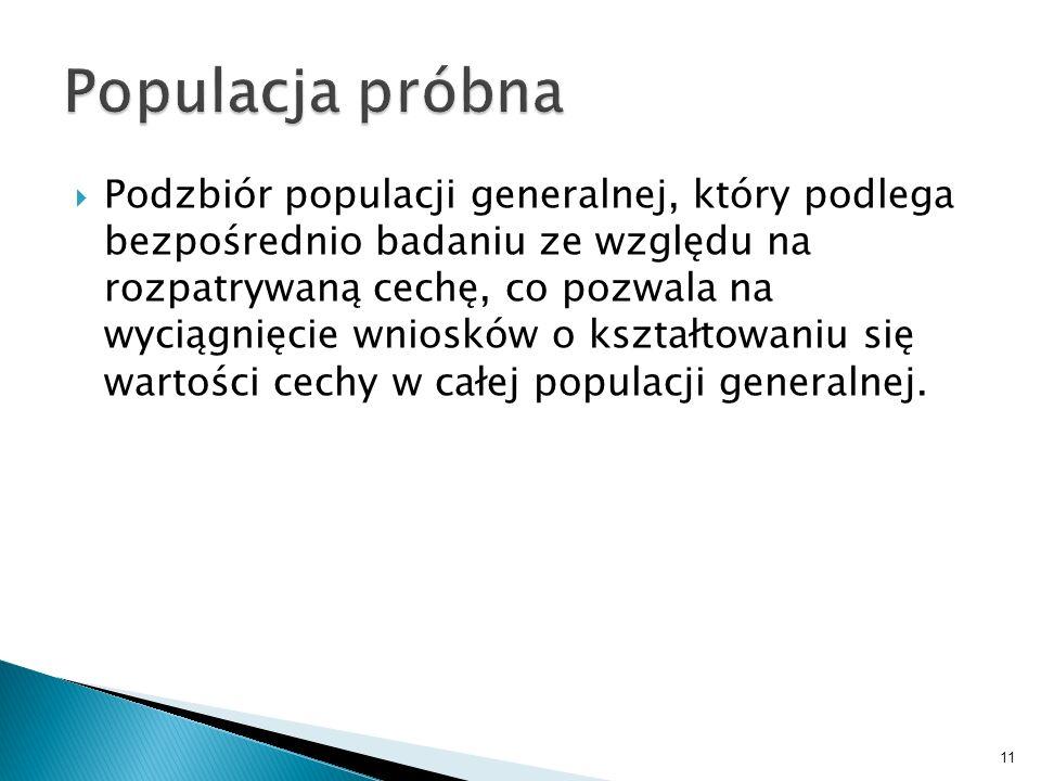 11 Podzbiór populacji generalnej, który podlega bezpośrednio badaniu ze względu na rozpatrywaną cechę, co pozwala na wyciągnięcie wniosków o kształtow