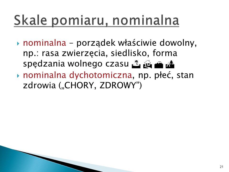 21 nominalna – porządek właściwie dowolny, np.: rasa zwierzęcia, siedlisko, forma spędzania wolnego czasu nominalna dychotomiczna, np. płeć, stan zdro