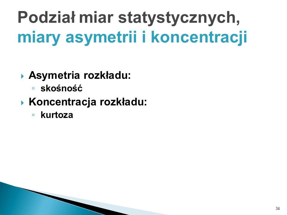 34 Asymetria rozkładu: skośność Koncentracja rozkładu: kurtoza Podział miar statystycznych, miary asymetrii i koncentracji