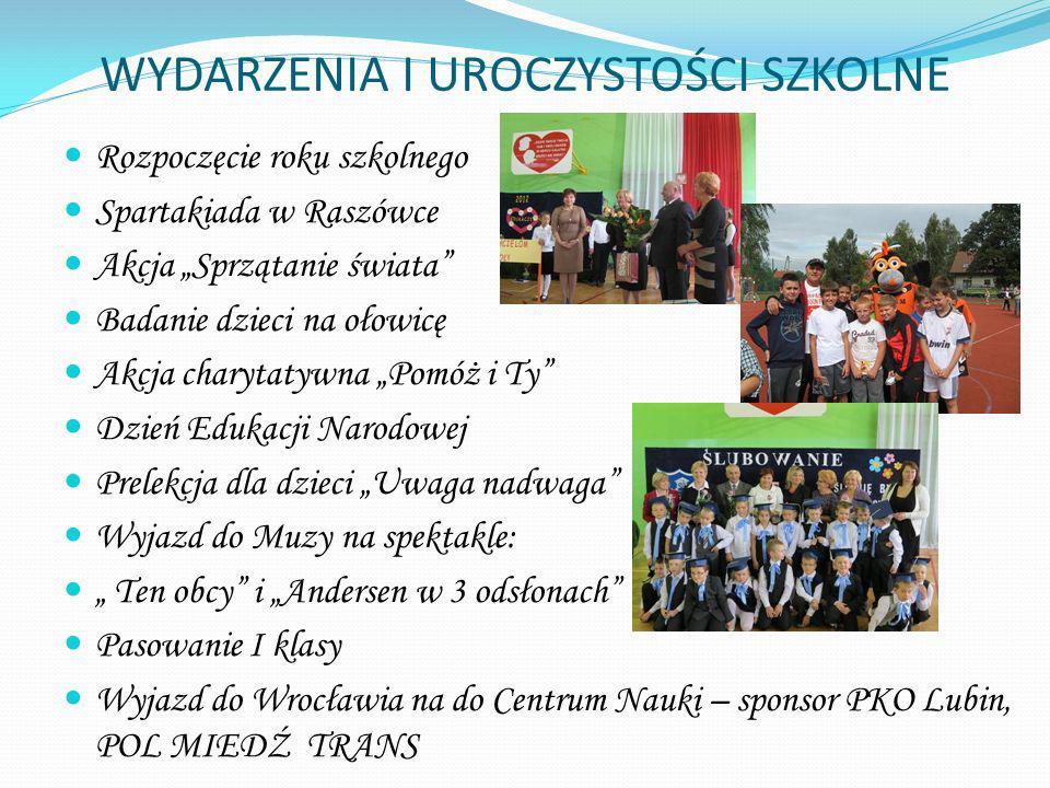 WYDARZENIA I UROCZYSTOŚCI SZKOLNE Rozpoczęcie roku szkolnego Spartakiada w Raszówce Akcja Sprzątanie świata Badanie dzieci na ołowicę Akcja charytatyw
