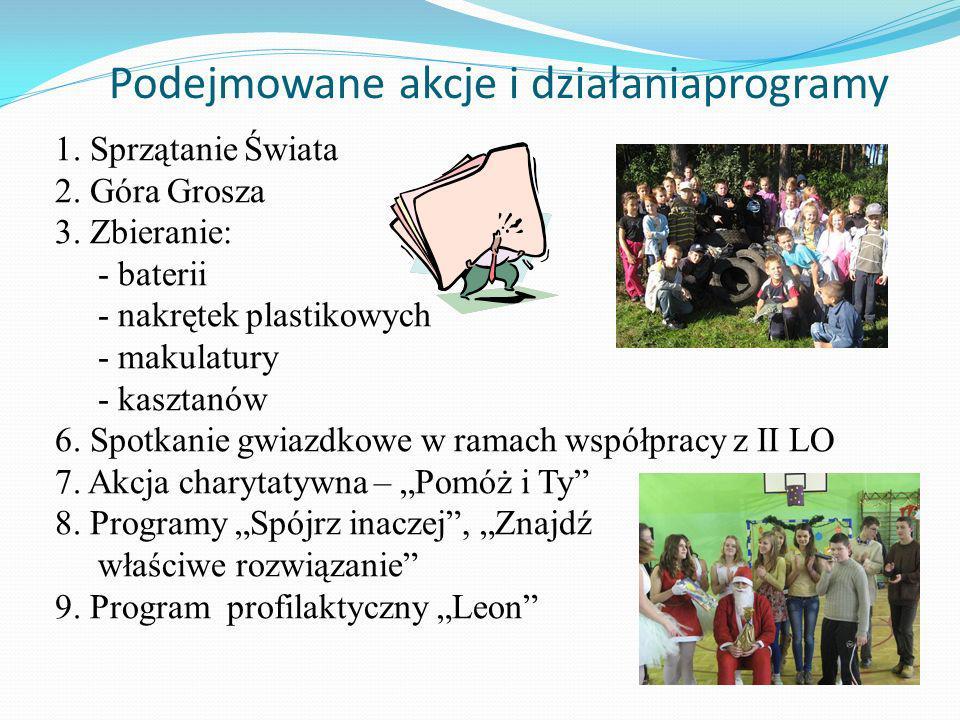 Podejmowane akcje i działaniaprogramy 1.Sprzątanie Świata 2.