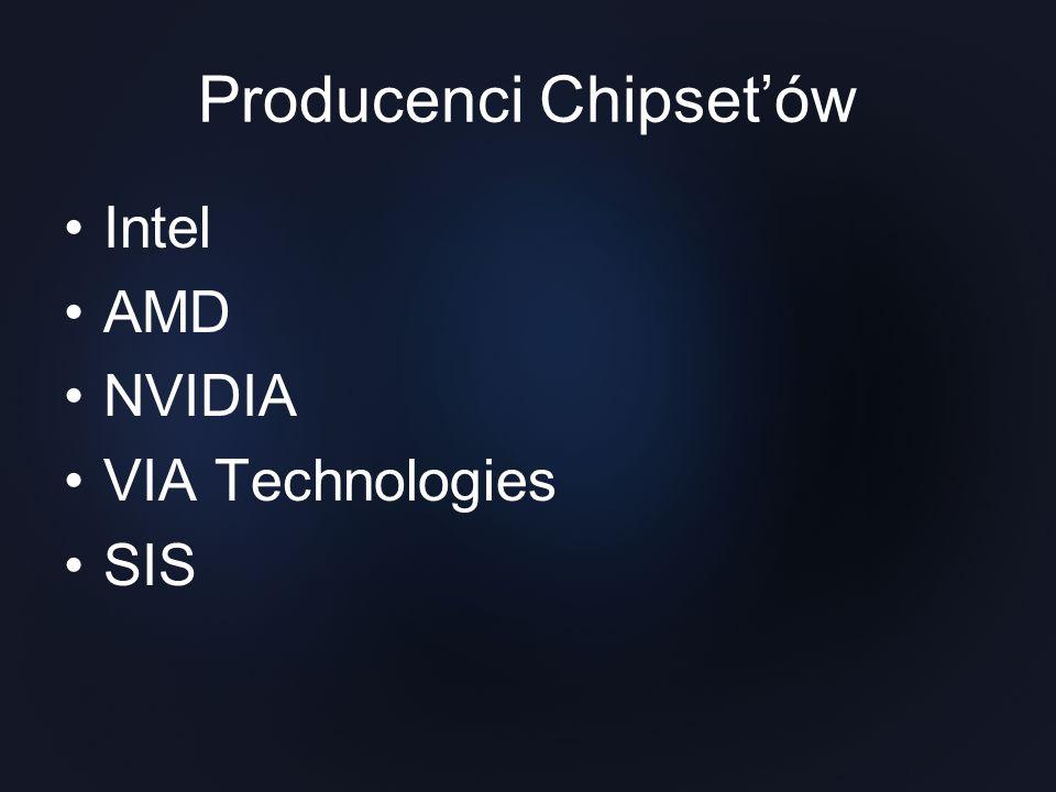 Chipsety Intel Firma Intel samodzielnie opracowała chipset i płytę główną,dzięki czemu nowy projekt od razu mógł zaistnieć od razu na rynku.Intel zrezygnował także z łączenia układów chipsetu za pomocą magistrali PCI, zastępując ja odpowiednim interfejsem.