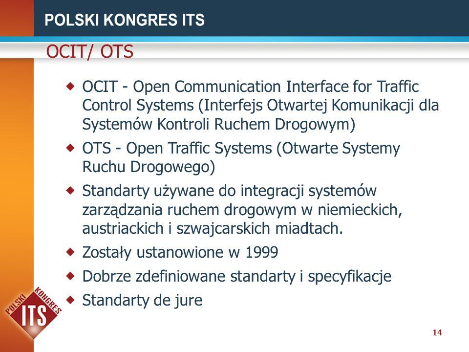 14 OCIT/ OTS OCIT - Open Communication Interface for Traffic Control Systems (Interfejs Otwartej Komunikacji dla Systemów Kontroli Ruchem Drogowym) OT