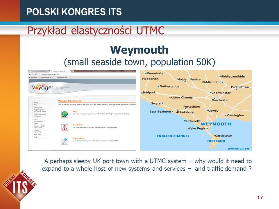 17 Weymouth (small seaside town, population 50K) Przykład elastyczności UTMC A perhaps sleepy UK port town with a UTMC system – why would it need to e