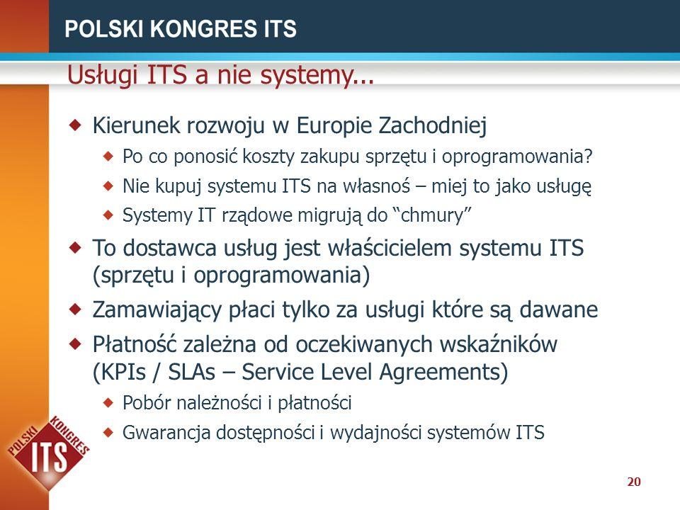 20 Usługi ITS a nie systemy... Kierunek rozwoju w Europie Zachodniej Po co ponosić koszty zakupu sprzętu i oprogramowania? Nie kupuj systemu ITS na wł