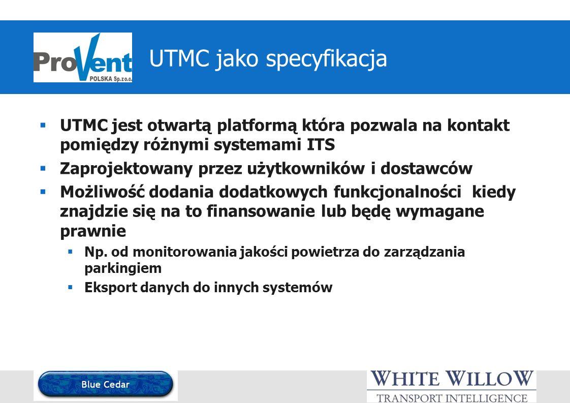 UTMC jako specyfikacja UTMC jest otwartą platformą która pozwala na kontakt pomiędzy różnymi systemami ITS Zaprojektowany przez użytkowników i dostawców Możliwość dodania dodatkowych funkcjonalności kiedy znajdzie się na to finansowanie lub będę wymagane prawnie Np.