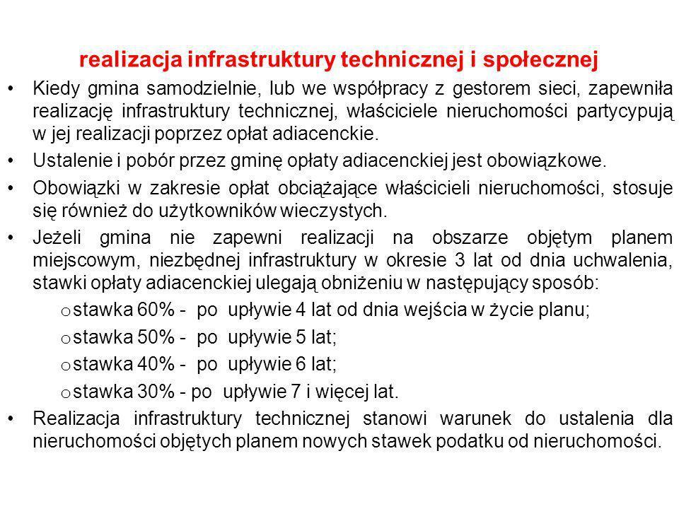 realizacja infrastruktury technicznej i społecznej Kiedy gmina samodzielnie, lub we współpracy z gestorem sieci, zapewniła realizację infrastruktury t