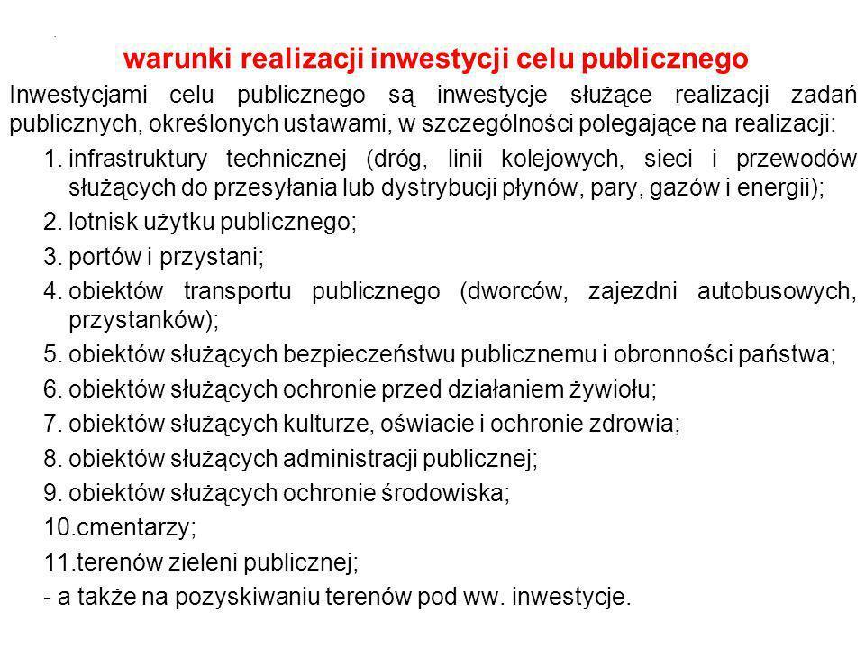 warunki realizacji inwestycji celu publicznego Inwestycjami celu publicznego są inwestycje służące realizacji zadań publicznych, określonych ustawami,