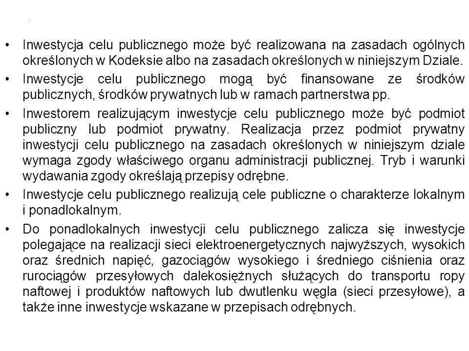 Inwestycja celu publicznego może być realizowana na zasadach ogólnych określonych w Kodeksie albo na zasadach określonych w niniejszym Dziale. Inwesty
