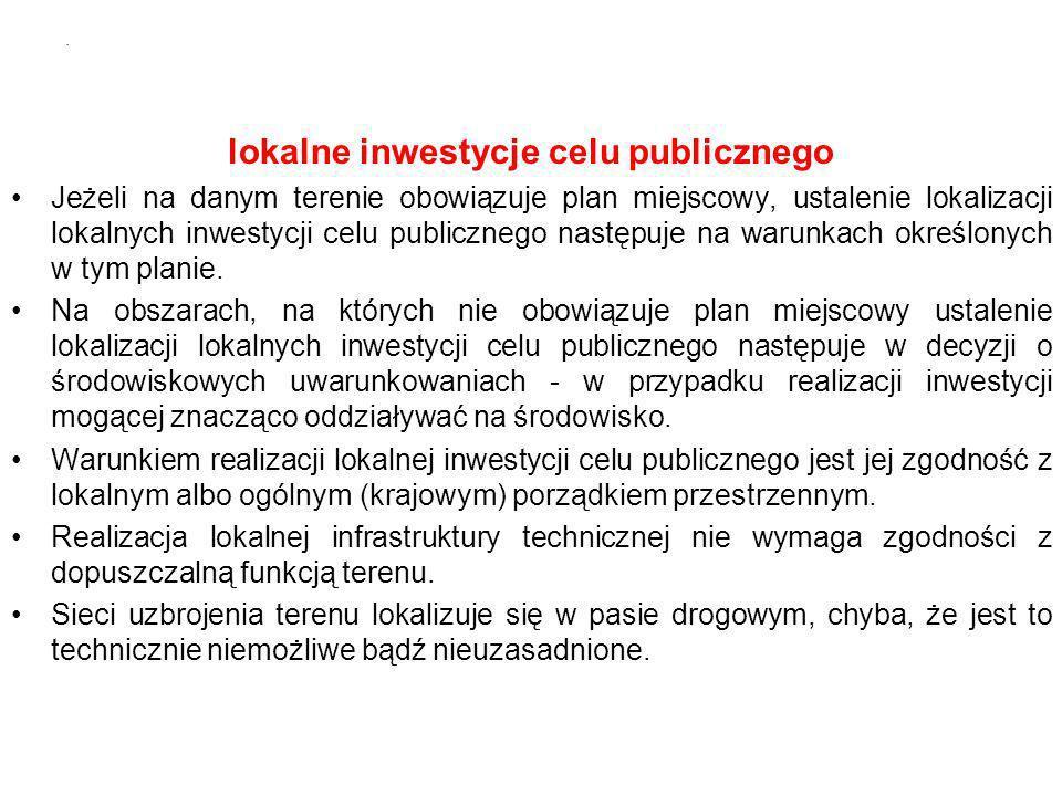 lokalne inwestycje celu publicznego Jeżeli na danym terenie obowiązuje plan miejscowy, ustalenie lokalizacji lokalnych inwestycji celu publicznego następuje na warunkach określonych w tym planie.
