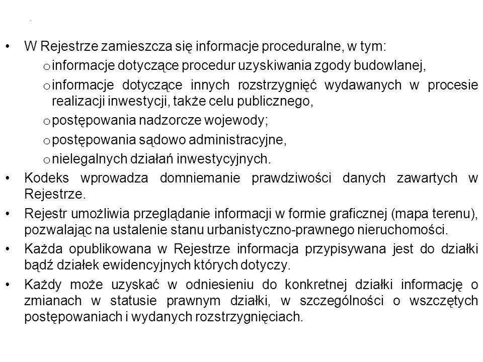W Rejestrze zamieszcza się informacje proceduralne, w tym: o informacje dotyczące procedur uzyskiwania zgody budowlanej, o informacje dotyczące innych