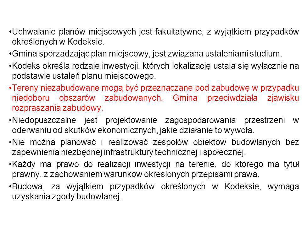 Uchwalanie planów miejscowych jest fakultatywne, z wyjątkiem przypadków określonych w Kodeksie.