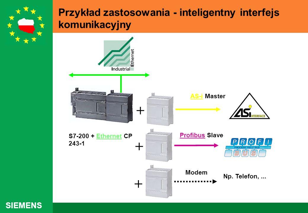 SIEMENS Przykład zastosowania - inteligentny interfejs komunikacyjny S7-200 + Ethernet CP 243-1 + Np. Telefon,... AS-i Master Profibus Slave + + Modem