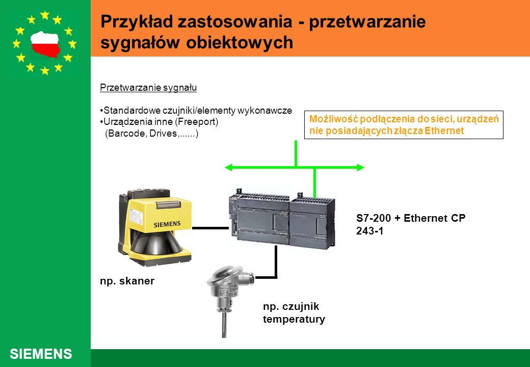 SIEMENS Przykład zastosowania - przetwarzanie sygnałów obiektowych S7-200 + Ethernet CP 243-1 np. czujnik temperatury np. skaner Przetwarzanie sygnału