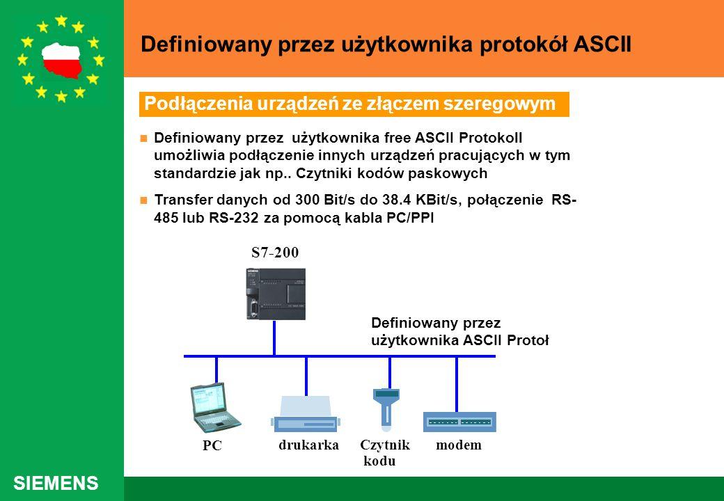 SIEMENS Definiowany przez użytkownika free ASCII Protokoll umożliwia podłączenie innych urządzeń pracujących w tym standardzie jak np.. Czytniki kodów