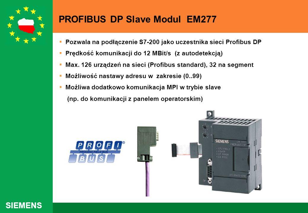 SIEMENS PROFIBUS DP Slave Modul EM277 Pozwala na podłączenie S7-200 jako uczestnika sieci Profibus DP Prędkość komunikacji do 12 MBit/s (z autodetekcj