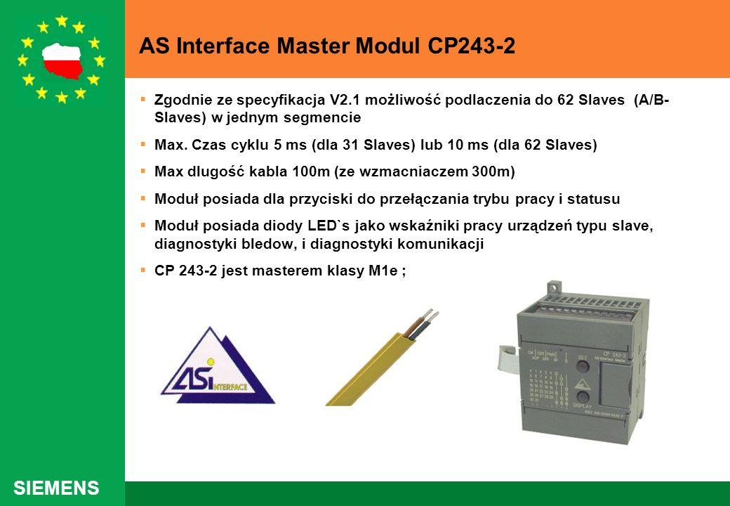 SIEMENS AS Interface Master Modul CP243-2 Zgodnie ze specyfikacja V2.1 możliwość podlaczenia do 62 Slaves (A/B- Slaves) w jednym segmencie Max. Czas c