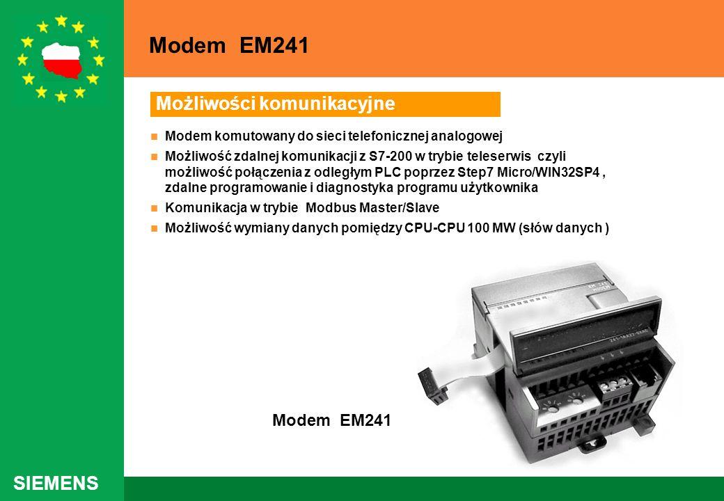 SIEMENS Możliwości komunikacyjne Modem komutowany do sieci telefonicznej analogowej Możliwość zdalnej komunikacji z S7-200 w trybie teleserwis czyli m