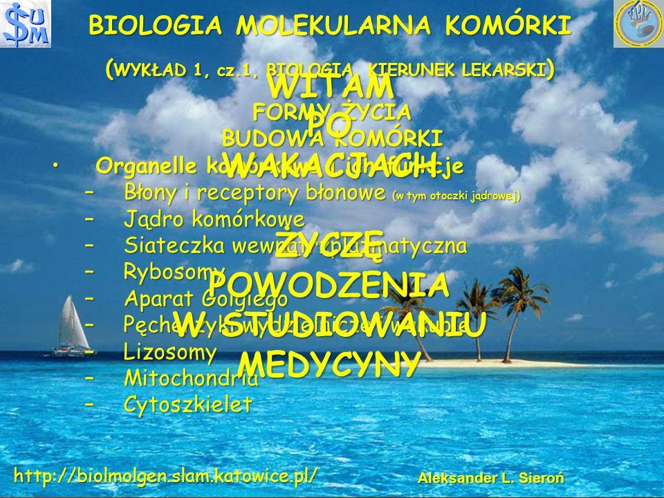 BIOLOGIA MOLEKULARNA KOMÓRKI ( WYKŁAD 1, cz.1, BIOLOGIA, KIERUNEK LEKARSKI ) FORMY ŻYCIA BUDOWA KOMÓRKI OrganelleOrganelle komórkowe i ich funkcje –Błony –Błony i receptory błonowe (w tym otoczki jądrowej) –Jądro –Jądro komórkowe –Siateczka –Siateczka wewnątrzplazmatyczna –Rybosomy –Aparat –Aparat Golgiego –Pęcherzyki –Pęcherzyki wydzielnicze i wakuole –Lizosomy –Mitochondria –Cytoszkielet Aleksander L.