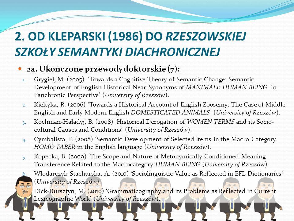 2. OD KLEPARSKI (1986) DO RZESZOWSKIEJ SZKOŁY SEMANTYKI DIACHRONICZNEJ 2a. Ukończone przewody doktorskie (7): 1. Grygiel, M. (2005) Towards a Cognitiv