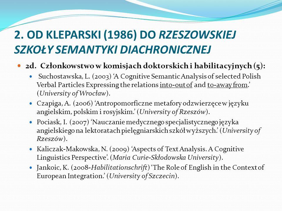 2. OD KLEPARSKI (1986) DO RZESZOWSKIEJ SZKOŁY SEMANTYKI DIACHRONICZNEJ 2d. Członkowstwo w komisjach doktorskich i habilitacyjnych (5): Suchostawska, L