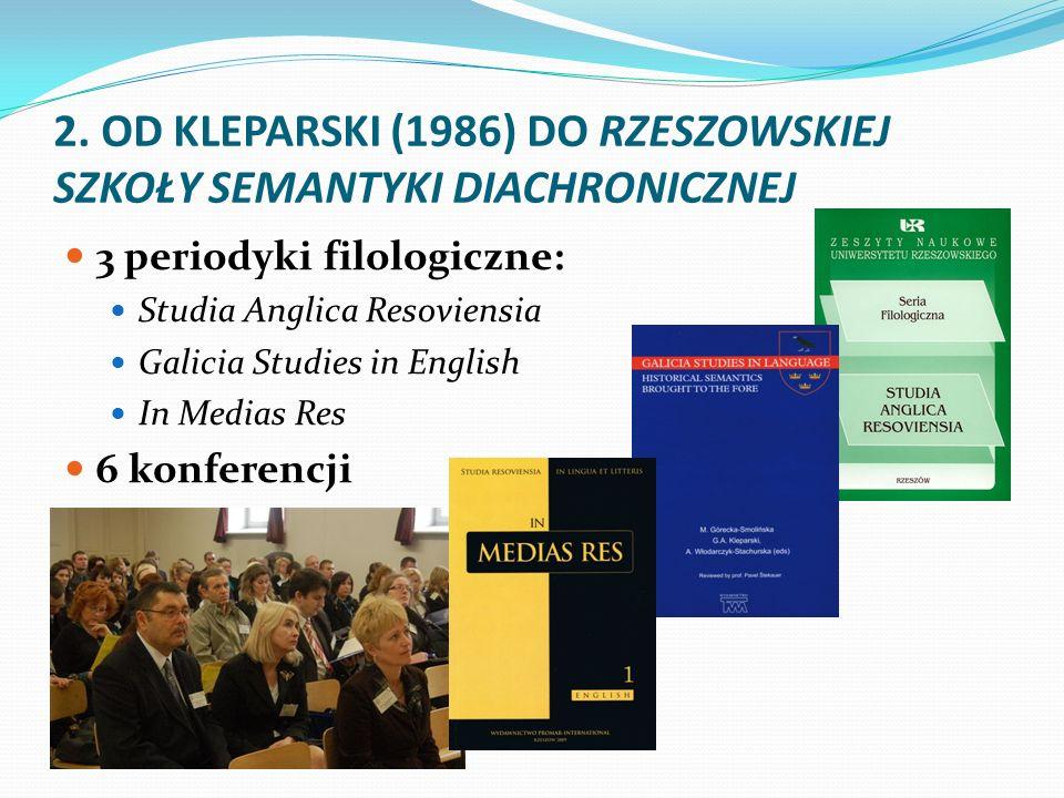 2. OD KLEPARSKI (1986) DO RZESZOWSKIEJ SZKOŁY SEMANTYKI DIACHRONICZNEJ 3 periodyki filologiczne: Studia Anglica Resoviensia Galicia Studies in English