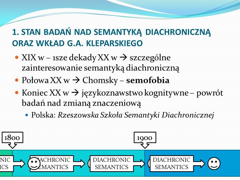 1. STAN BADAŃ NAD SEMANTYKĄ DIACHRONICZNĄ ORAZ WKŁAD G.A. KLEPARSKIEGO XIX w – 1sze dekady XX w szczególne zainteresowanie semantyką diachroniczną Poł