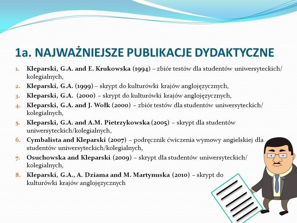 1a. NAJWAŻNIEJSZE PUBLIKACJE DYDAKTYCZNE 1. Kleparski, G.A. and E. Krukowska (1994) – zbiór testów dla studentów uniwersyteckich/ kolegialnych, 2. Kle